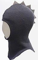 Шлем шапка зимний Динозаврик на мальчика (р. 46-54) ТМ Be easy Графит Р1