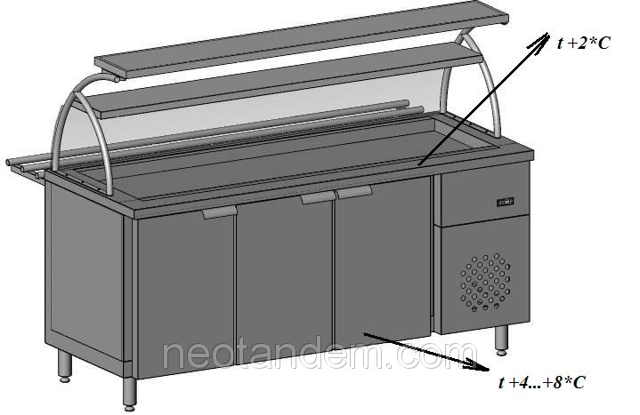 Охолоджуваний Прилавок для тарілок з холодильною камерою з двома полками і гнутим склом