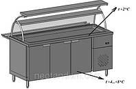 Прилавок охлаждаемый для тарелок с холодильной камерой с двумя полками и гнутым стеклом