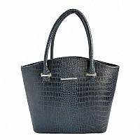 Синяя фигурная сумка с крокодиловым рисунком
