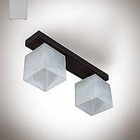 Люстра 2 ламповая, деревянная для спальни, кухни, прихожей