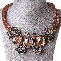 [25-30 мм] Ожерелье каменные плоды блестка коричневый Gold