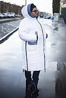 """Зимнее пальто-плащ """"Ариша""""  белое  (52-66)"""