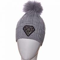 Модная женская шапка зима 2017 с помпоном