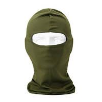 Балаклава летняя (шапка-маска) хлопок, зеленая