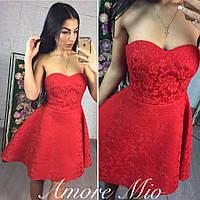 Платье короткое с корсетным верхом и пышной юбкой неопрен гипюр SML852