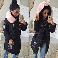 Куртка женская теплая с мехом на капюшоне утеплитель холлофайбер Gol50