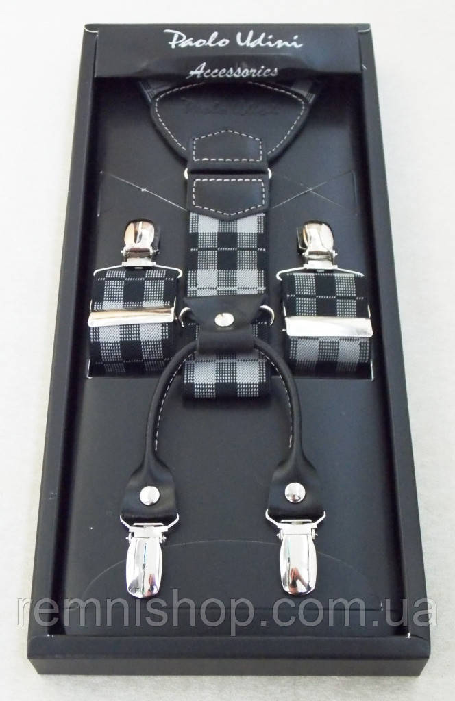 Подтяжки для мужчин Paolo Udini черно-серые