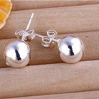 Сережки дутые круглые покрытие 925 серебро проба