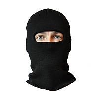 Балаклава зимняя (шапка-маска) вязанная черная (двойная вязка)