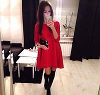 Платье ассиметричное с коротким рукавом