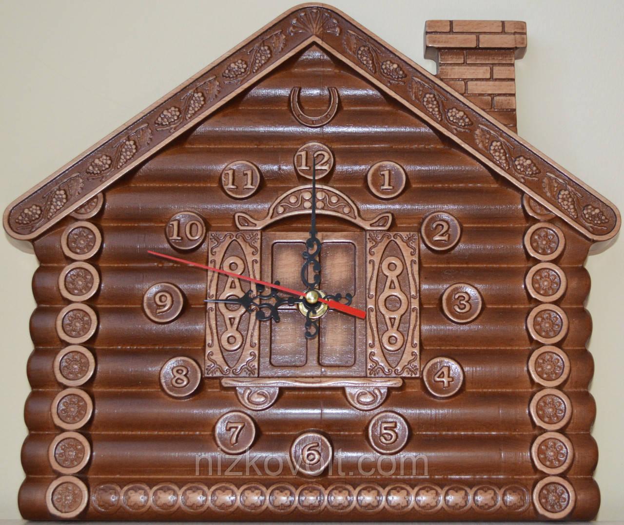 """Годинник на стіну """"Хатинка"""" - різьба по дереву"""