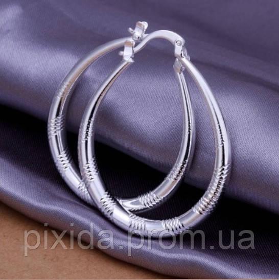 Сережки Гривна насечка покрытие 925 серебро проба