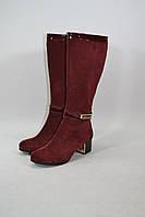 Женские сапоги на невысоком каблуке бордового цвета, натуральный замш + лак, фото 1