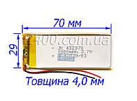 аккумулятор 1000мАч 4*27*72 мм 3,7 в универсальный для китайских телефонов 1000mAh 3.7v