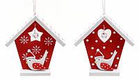 Новогодний набор украшение Дом с птицей 8см