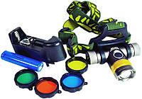 Налобный фонарь Bailong BL-6836-T6, с 4 светофильтрами, аккумуляторный, влагостойкий, оптический зум, светодио