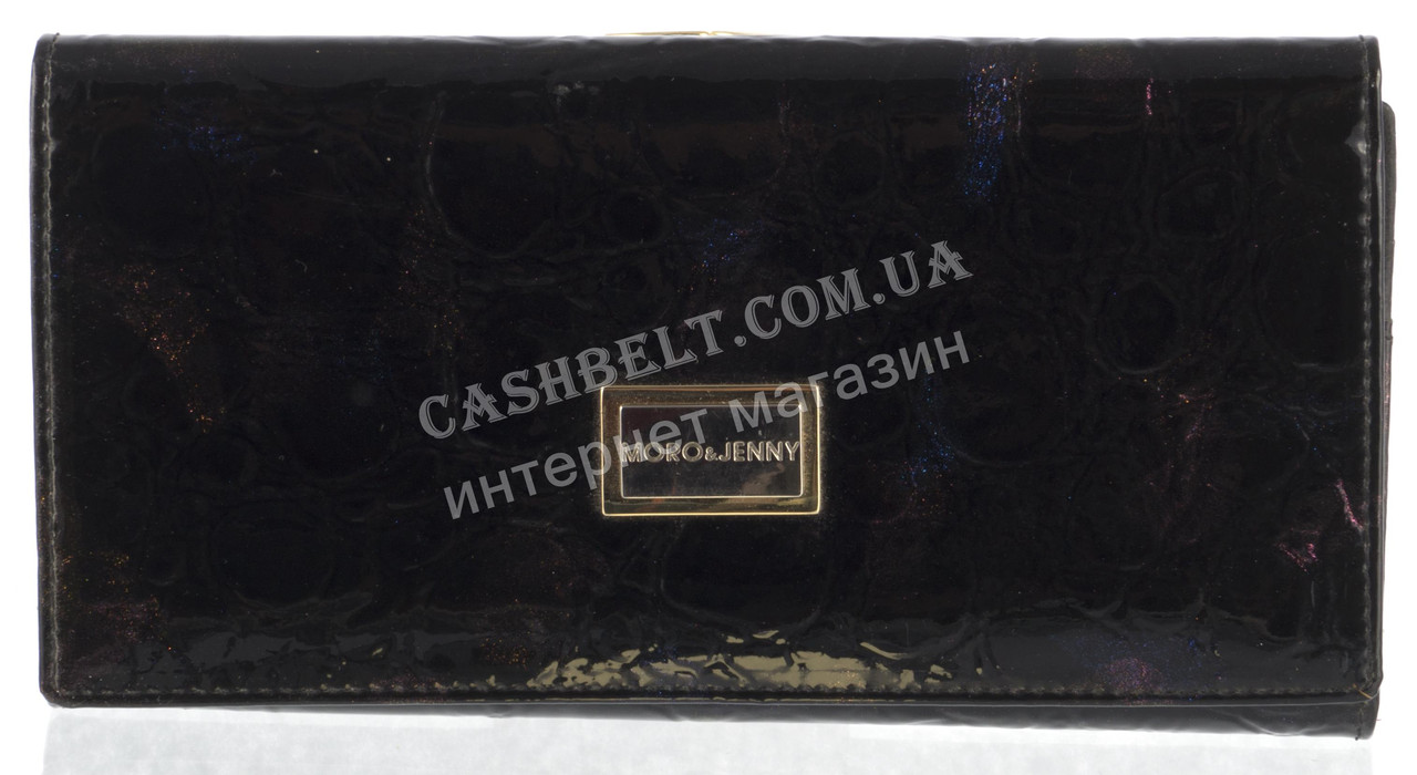 Элитный оригинальный женский лаковый кожаный кошелек высокого качества MORO art. MR-3107-A черный