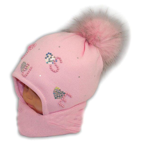 Детский зимний набор для девочки, шапка с шарфом