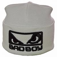Белая зимняя шапка мужская Bad Boy