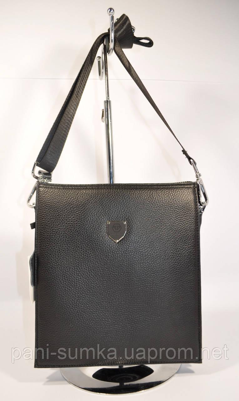 Кожаная сумка мужская через плечо, планшет Philipp Plein 0189-3, 24*21,5*4 см