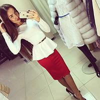 Костюм(48-52) кофта баска, длинный рукав + юбка миди!!!