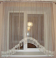 Тюль арка для кухни сетка Tassels 3 м, Мокко
