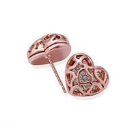 Сережки Сердечки чешский хрусталь покрытие 18К золото