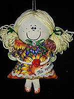 """Красивая игрушка """"Цветочный ангел"""", текстиль,ручная работа (подсолнух), 20 см., 95/85 (цена за 1 шт. + 10 гр.)"""