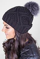 Женская шапка с помпоном из натурального меха, фото 1