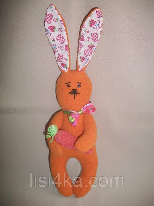 Интерьерный текстильный рыжий зайчонок с морковкой