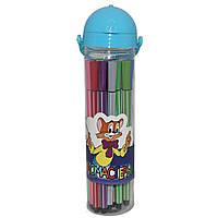 Фломастеры в пенале-тубе с цветной крышкой Sat,  24шт. для детей от 3-х лет