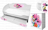 Кровать диванчик Минни Маус с рисунками Дисней для девочки купить недорого http://кровать-машина.com.ua/