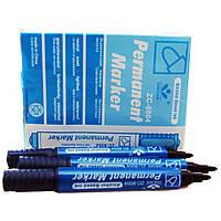Маркер перманентный толстый JX-8004 синий, 12 шт. в упаковке