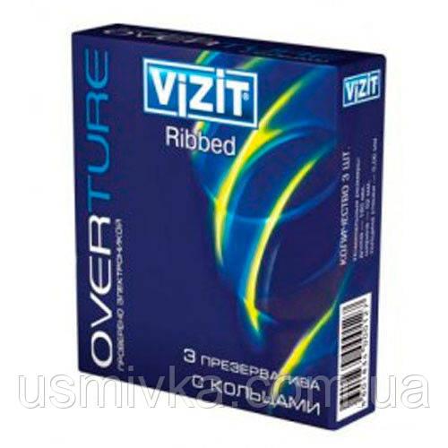 Презервативы визит overture ribbed упаковка, 3 шт. SX7110016