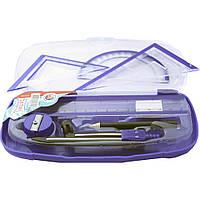 Набор инструментов для черчения SAT синий (линейка, угольник, транспортир, ластик, циркуль, карандаш, точилка, пенал)