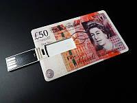 USB флешка, накопитель на 16 GB в виде купюры 50 фунтов