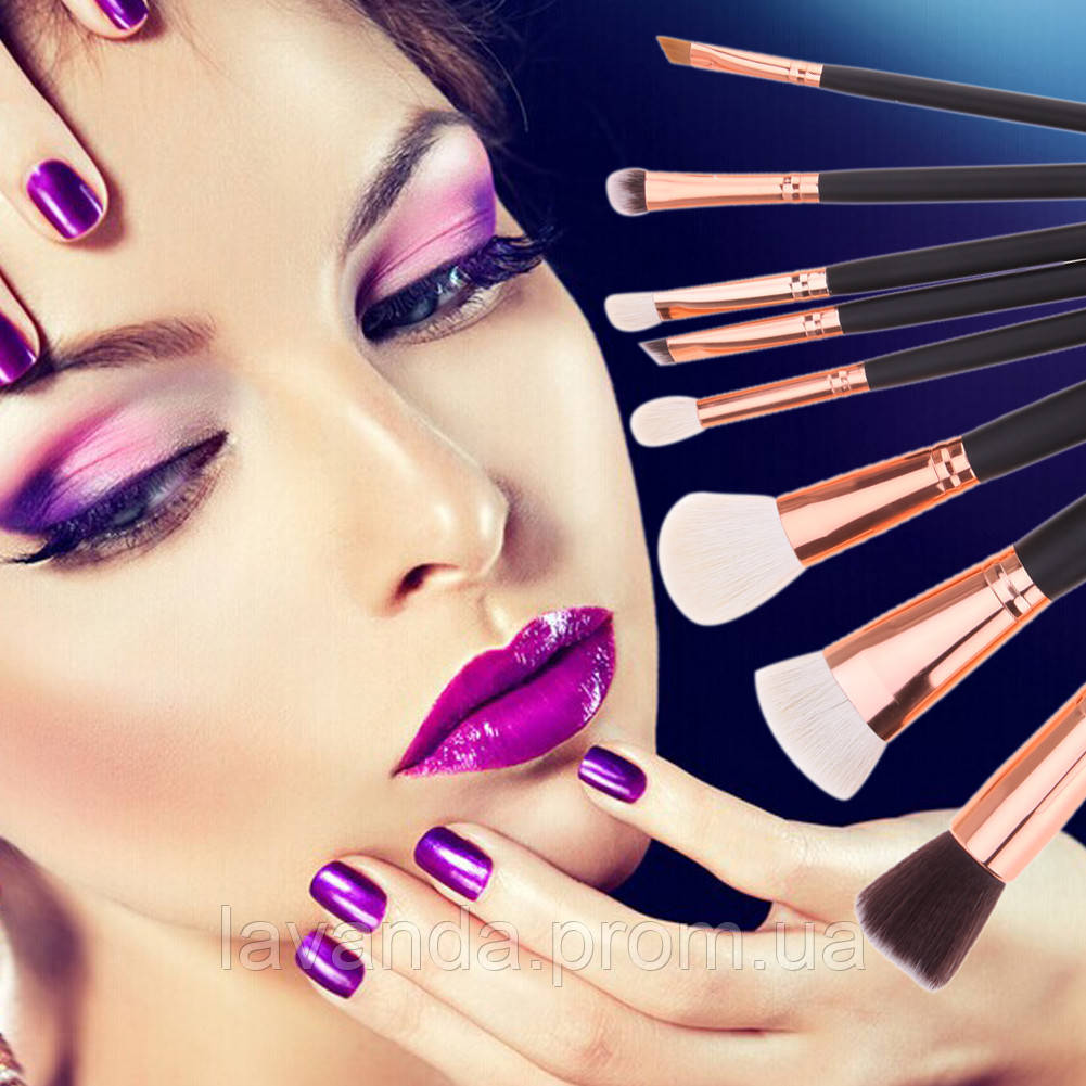 Набор кистей для макияжа реплика Zoeva черные 8 штук ,без логотипа