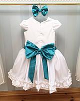 Белое нарядное платье с бантом