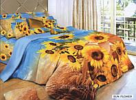 Постельное белье Sun flower, сатин, фотопринт, 3D, ТМ Arya (Ария) Турция, подсолнухи