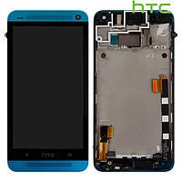 Дисплей + touchscreen (сенсор) для HTC One M7 801e, с передней панелью, голубой, оригинал