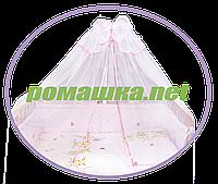 Белый балдахин из сетки с бантом и тесьмой по контуру в детскую кроватку, 450х150 см ТМ Ромашка цвет тесьмы