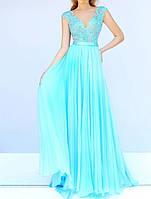 DL-596-3 Выпускное Макси Платье Гипюр Шифон V-вырез