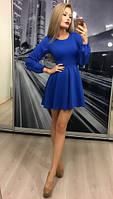 Женское синие платье с пышной юбкой рукав фоанрик