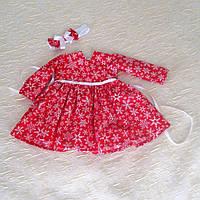 Красное хлопковое платье со снежинками