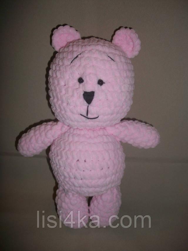Интерьерная вязаная игрушка ручной работы розовый медведь