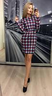 Женское приталенное платье в клеточку