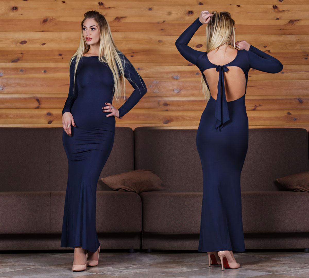 ДС429 Платье вечернее темно-синее