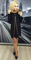 Женское платье свободного кроя с декоративной молнией