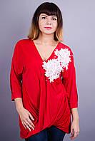 Ланвин. Нарядная блуза больших размеров. Красный.